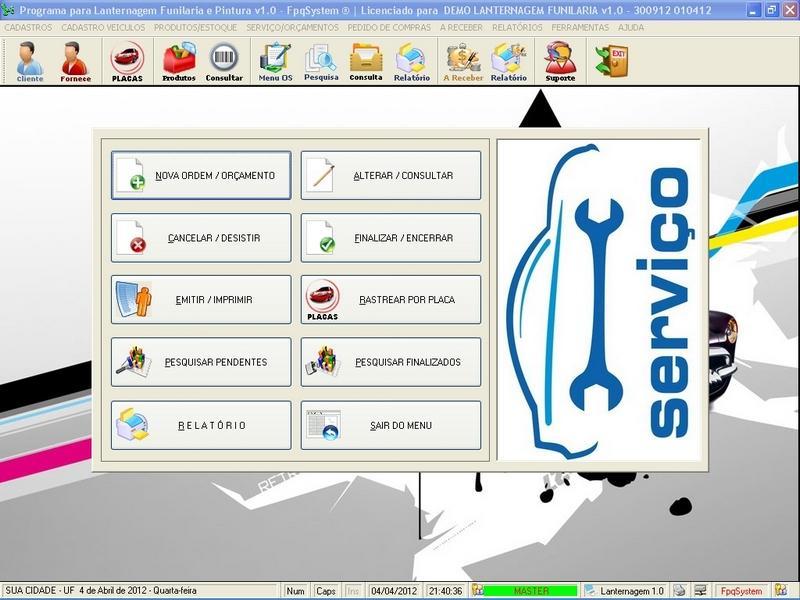 Programa para lanternagem funilaria e pintura com servi os vendas e estoque v1 0 fpqsystem - Programas para oficina ...